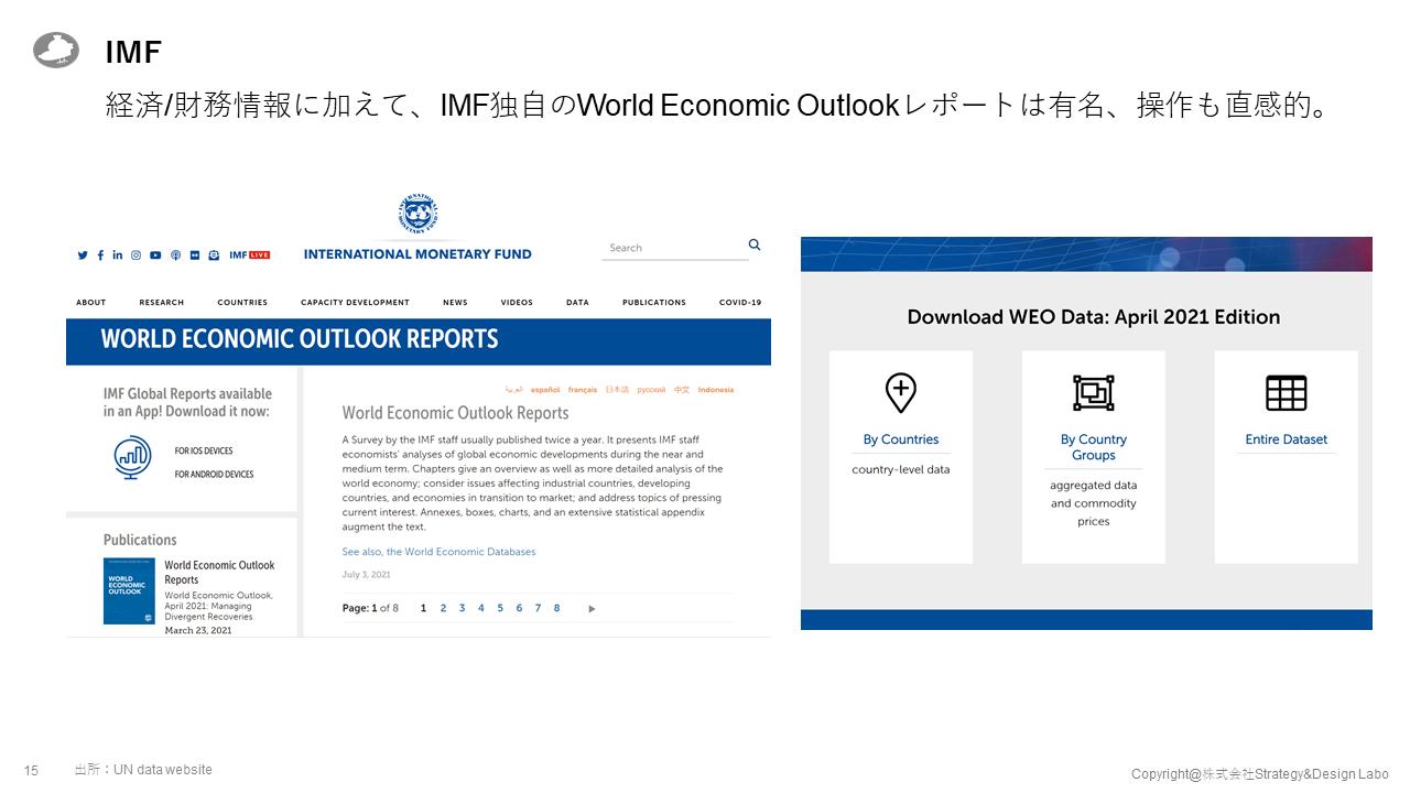 経済/財務情報に加えて、IMF独自のWorld Economic Outlookレポートは有名、操作も直感的。